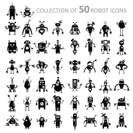 Vector image of black retro robot icons