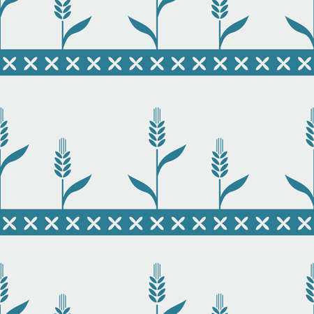 vector image of seamless pattern with wheat Vector