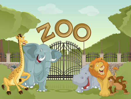 stone lion: Vector image of cartoon zoo  with animals