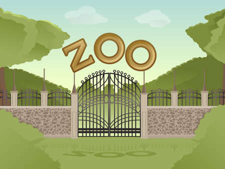 illustration zoo: Vector image of cartoon zoological garden background Illustration
