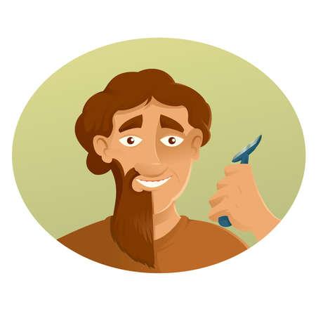 rasoir: Vecteur d'image d'un rasoir et la barbe Illustration