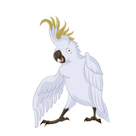 Vector image of very happy cartoon cockatoo, Vector