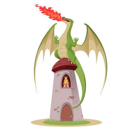 Drachen mit der Prinzessin in der Ruderer Standard-Bild - 26486569