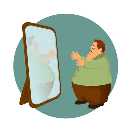 Vector image of cartoon fatso and the mirror Vector
