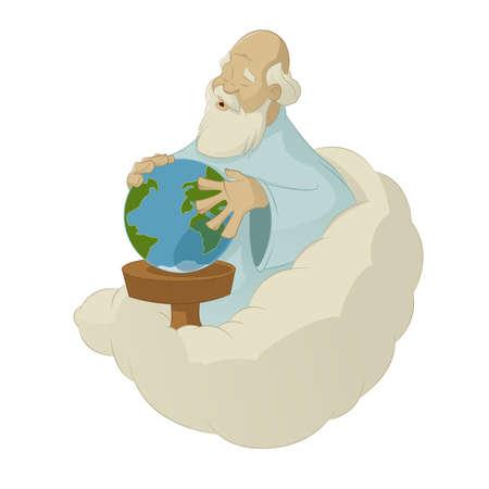 cartoon god: Vector image of creation world by God Illustration