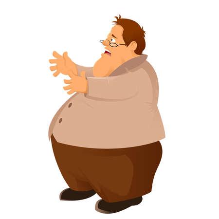 unhealthy eating: Vector image of the cartoon big man