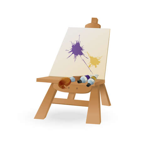Vector image of easel with brush and paint Vector