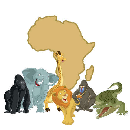 vector image of Africa with cartoon animals