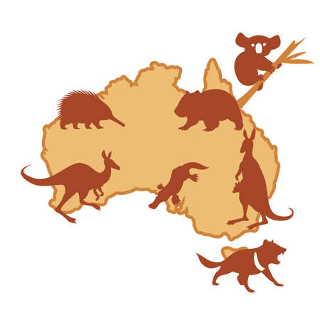 Vector image of Australis with silhouettes of animals Vector