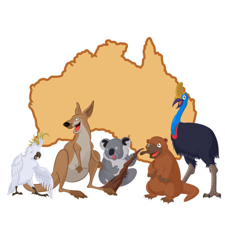 Vector image of Australia with cartoon animals Vector