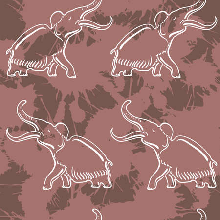 black mammoth: Vector image of Seamless pattern with mammoth