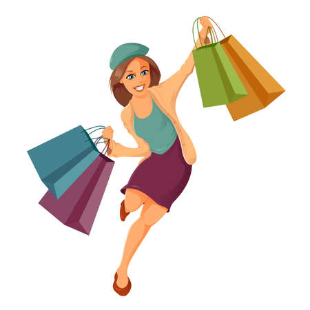 Vector image of cartoon woman is shoppung Vector