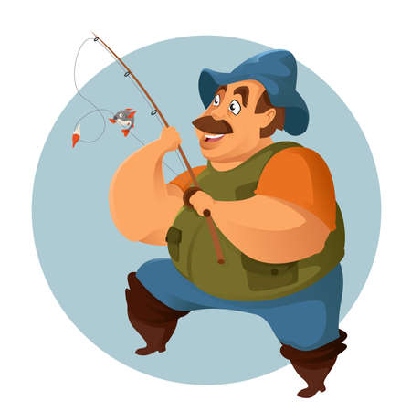 Vector image of fat cartoon smiling fisherman Ilustracja