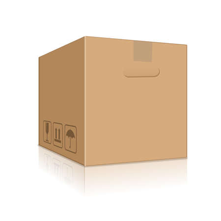 carton brown packing box Ilustrace