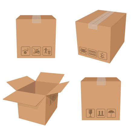 Vector  of carton brown packing boxes Vector