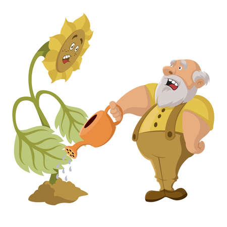 old farmer:  old farmer watering big plant