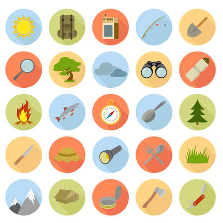 Vector collection of flat icons of camping Ilustracja