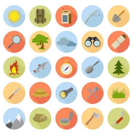 Vektor-Sammlung von Ikonen der Flach Camping Standard-Bild - 27515699