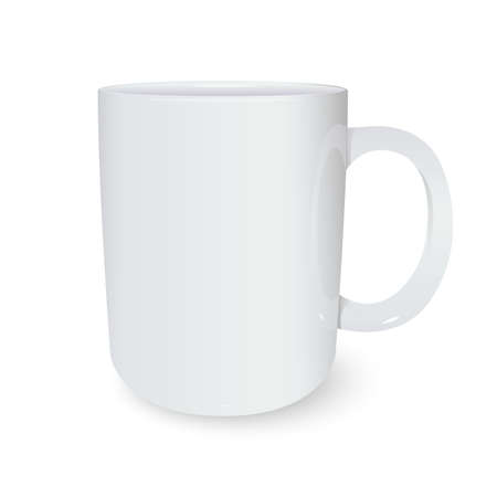 Vector image of white ceramic 3d mug