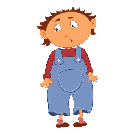 clumsiness: Vector image of cartoon shamed little kid