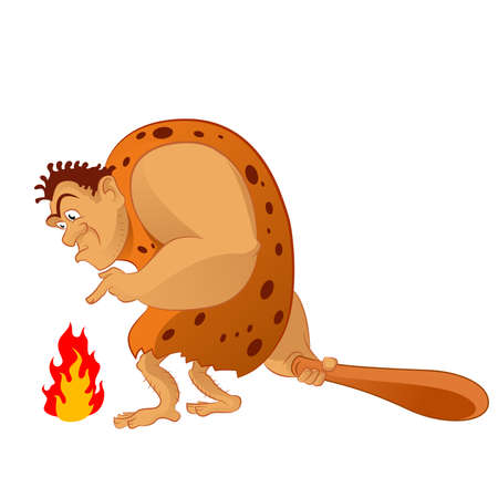 Vector image of an cartoon caveman and the fire Vector