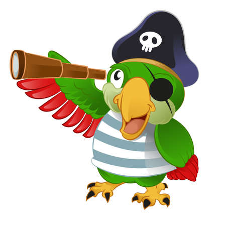 telescopes: Vector image of an smiling cartoon pirate parrow Illustration