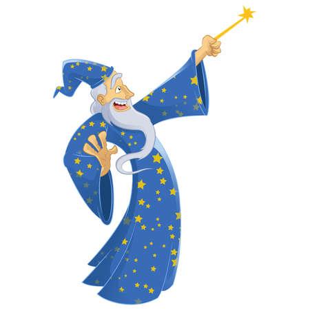 Vector image of an cartoon smiling wizard Vector