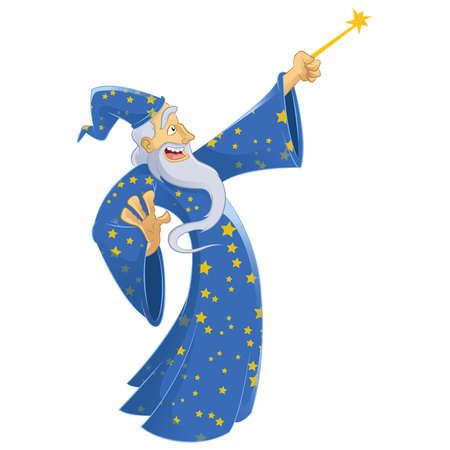 Vector image of an cartoon smiling wizard