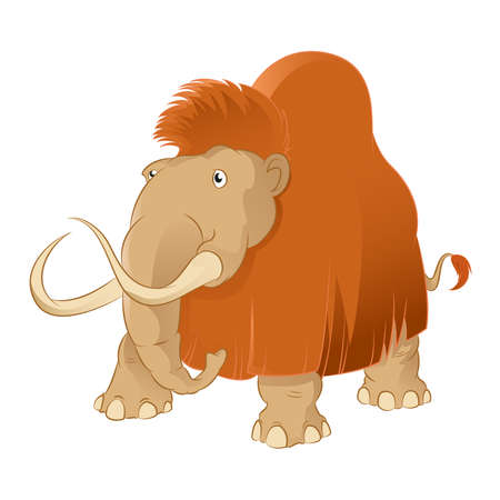 Vector image of an Cartoon shaggy mammoth