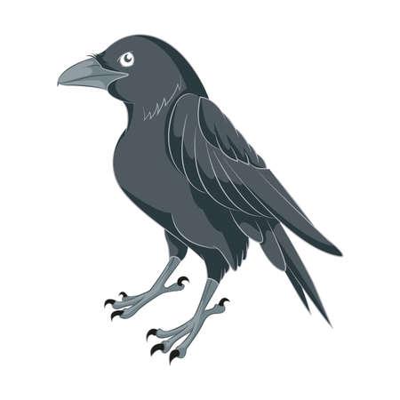 Vector image of an black Cartoon Raven Vector