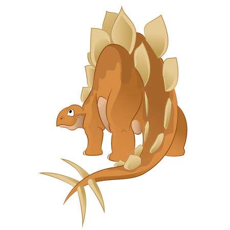stegosaurus: Vector image of an orange cartoon stegosaurus