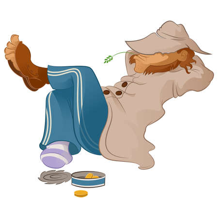 Vector image of an lazy cartoon Vagabond Vector