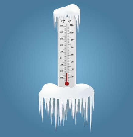 Vector de imagen de un termómetro congelado en invierno