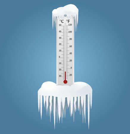 celsius: Vector image of an Frozen thermometer at winter