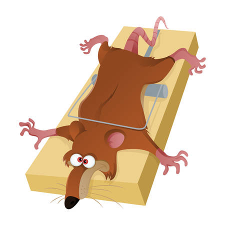 Vector image of the rat in the mousetrap