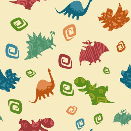 Vector image of dino baby seamless pattern Vector