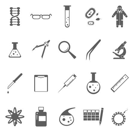 Vector image of set of Genetic gray icons
