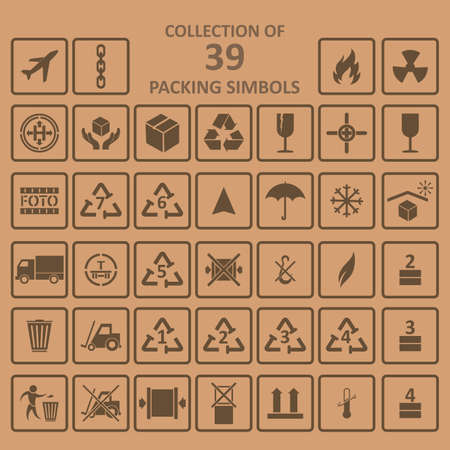 simbols: Collection of the packing simbols on backgrownd