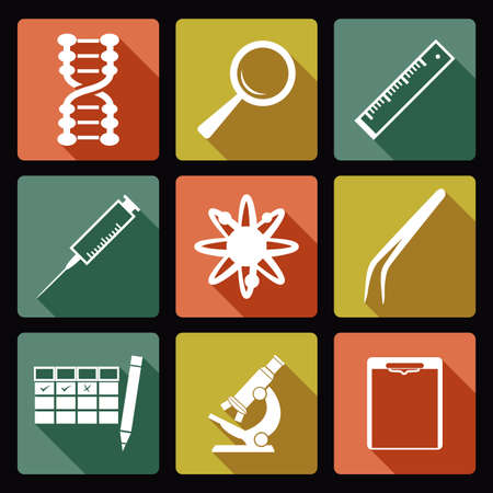 Vector image of collection of sciense icons