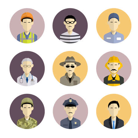 Vector image of collection of flat icons with professions Illustration