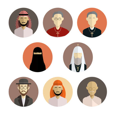 Vector image of collection of flat icons of religion