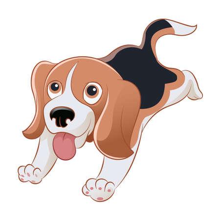 beagle puppy: Vector de imagen de un beagle sonriente de la historieta