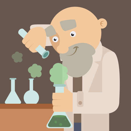 Vector image of an scientist in the lab