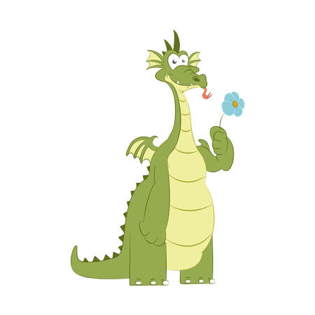 image of good dragon with flower Vector