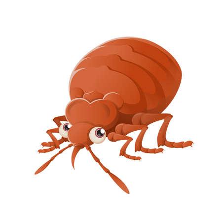 Vector image of an orange cartoon Bedbug