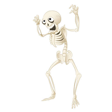 Vector image of a cartoon spooky skeleton