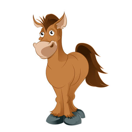 Vector image of an brown Cartoon horse