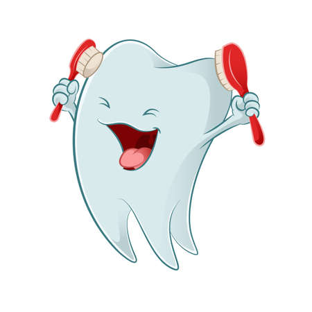 Vector image of a smiling Cartoon tooth Vector