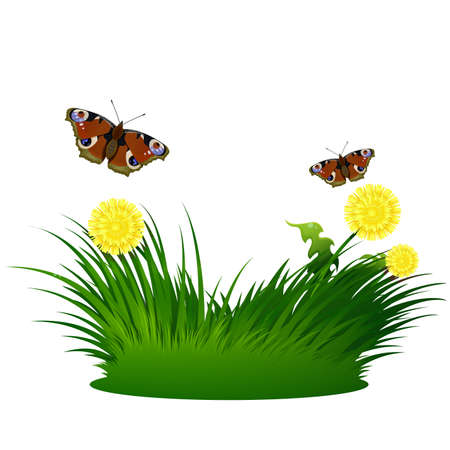 Grass background with butterflies