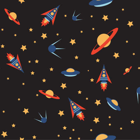 Seamless space colour pattern Illustration